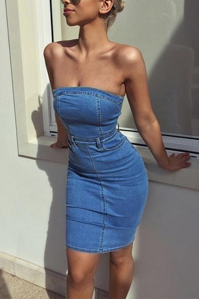 L'été de la Mode sans Bretelles Zip Patte de boutonnage Split de Retour Brut Denim Bleu Midi Bandeau Robe avec une paire de