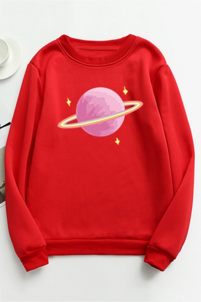 Womens Cute Pink Planet Printed Crewneck Long Sleeve Loose Pullover Sweatshirt, Black;pink;red;white;gray;purple;yellow;sky blue, LC570797