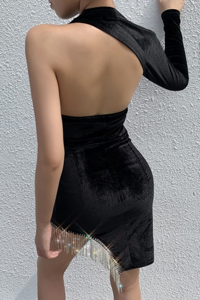 Womens Sexy One Shoulder Sleeve Backless Split Rhinestone Tassel Decoration Black Mini Party Dress