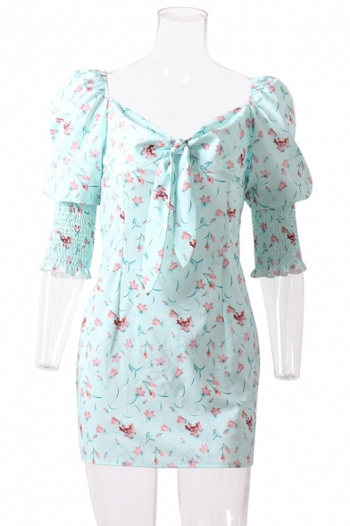Womens Trendy Floral Printed Sweetheart Neck Knot Front Puff Half Sleeves Mini Fitted Dress