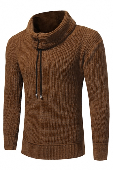Brown Plain Drawstring Heap Collar Long Sleeve Slim Knitted Men's Pullover Sweater