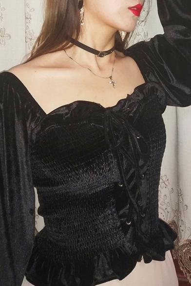Cool Black Blouson Sleeve Sweetheart Neck Lace Up Front Frilled Velvet Blouse
