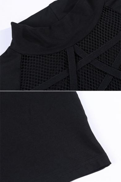 Dark Goth Glove Sleeve Mock Neck Pentagram Pattern See-Through Black Mesh Slim Fit Crop T Shirt for Party Girls