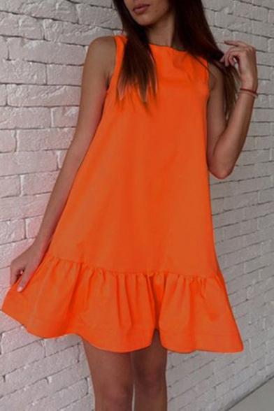Fashion Cute Women's Sleeveless Crew Neck Zipper Back Ruffled Trim Plain Short Swing Dress