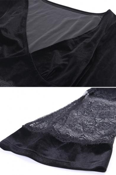 Gothic Girls' Bell Sleeve Deep V-Neck Sheer Lace Trim Slim Fit Velvet Black Crop T Shirt for Nightclub