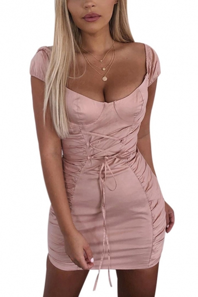 Ladies Chic Plain Pink Off Shoulder Lace Up Gathered Waist Pink Ruched Fitted Mini Dress