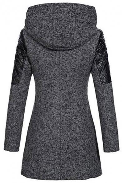 Ladies Simple Color Block Long Sleeve Oblique Zip Slim Hooded Windbreaker Woolen Trench Coat