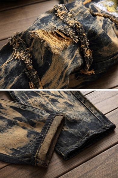 Mens Designer Tiger Embroidery Tie Dye Print Ripped Raw Edge Straight-Leg Jeans
