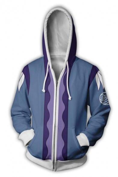 Mens Simple Wave Logo 3D Pattern Long Sleeve Zip Up Blue and Purple Cosplay Hoodie