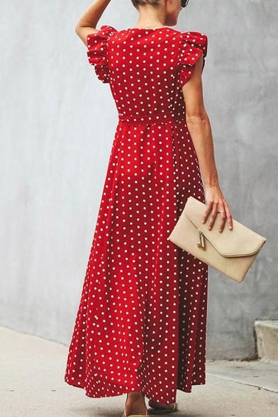 Plain Cute Ruffle Sleeve Surplice Neck Polka Dot Bow Tie Waist Pleated Long Flowy Dress for Ladies