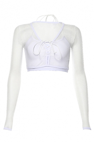 Stylish Sexy Long Sleeve V-Neck Layered Bow-Tie See-Through Fish Net Fitted White Crop T Shirt for Girls