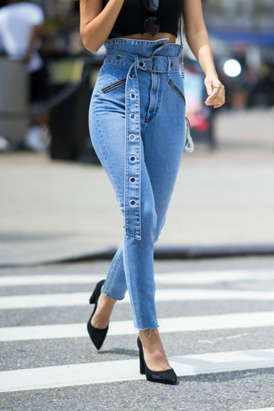 Trendy Street Girls' High Waist Belted Ribbon Zipper Frayed Cuffs Stretchy Ankle Skinny Jeans in Light Blue