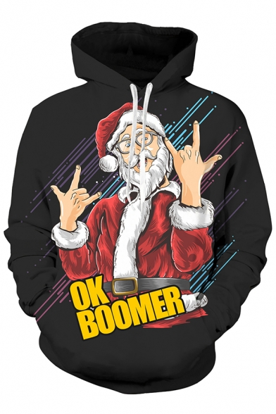 Unisex Christmas Series Letter OK BOOMER Santa Printed Long Sleeve 3D Drawstring Hoodie