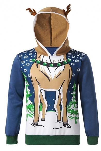 Unisex Cute Deer Horn Hood Christmas Elk Pattern Long Sleeve Pullover Hoodie