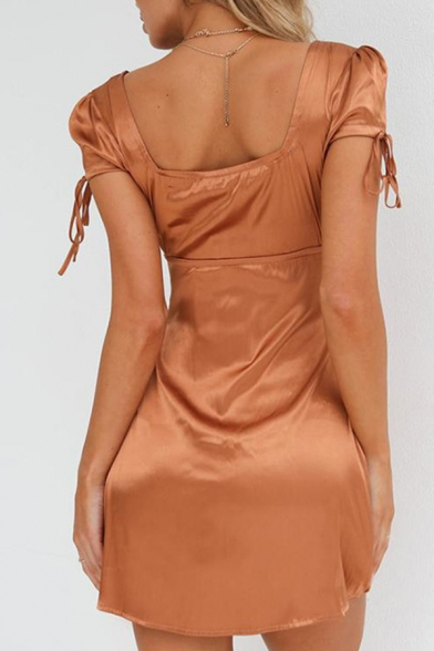 Womens Chic Plain Tied Short Sleeve Square Neck Daily Wear Mini Satin A Line Dress
