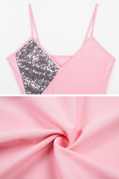 Womens Chic Sequins Splicing V-Neck Irregular Hem Pink Mini Party Straps Dress