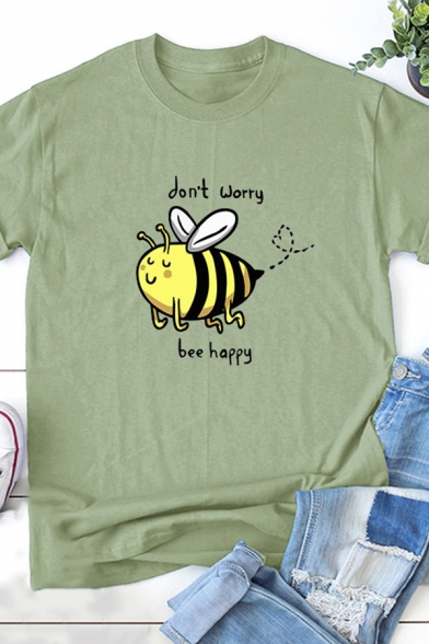 Womens Funny Letter DON'T WORRY BEE HAPPY Print Short Sleeve Simple T-Shirt