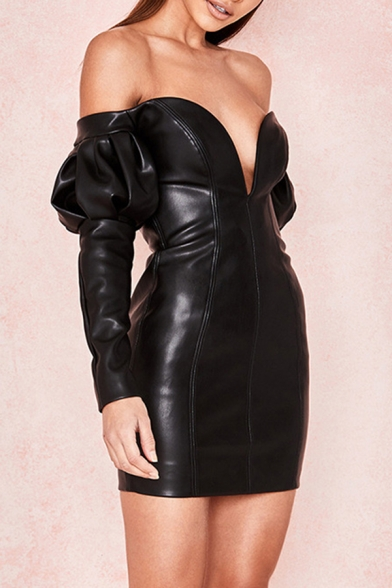 Womens Plain Black Sweetheart Off Shoulder Puff Long Sleeve Faux Leather Dancing Party Mini Dress