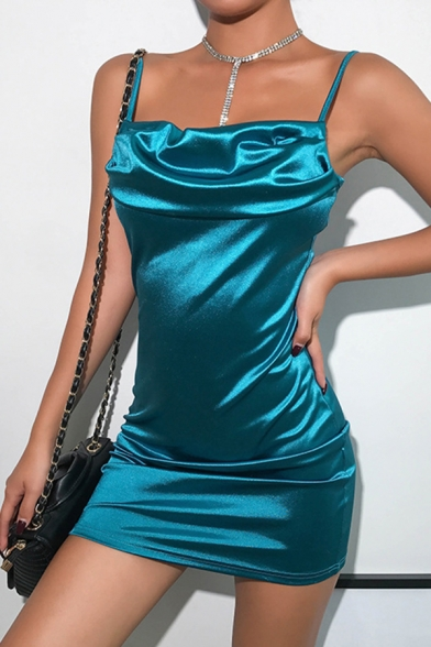 Womens Sexy Lake Blue Satin Ruched Front Sleeveless Fitted Clubwear Mini Slip Dress