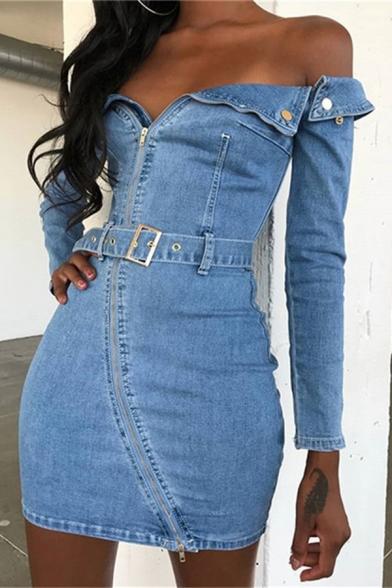 Baycheer / Womens Stylish Plain Off Shoulder Irregular Zip Placket Long Sleeve Mini Fitted Denim Dress with Belt