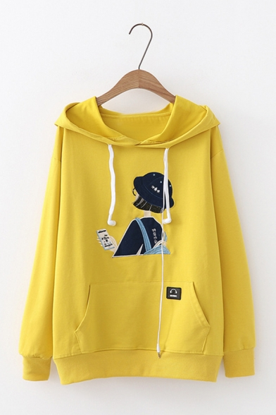 Cartoon Girl Embroidery Long Sleeve Kangaroo Pocket Drawstring Hoodie