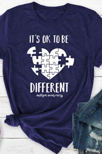 Creative Heart Jigsaw Puzzle IT'S OK TO BE DIFFERENT Print Short Sleeve Graphic T-Shirt LC573978 фото