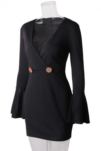 Elegant Ladies' Long Sleeve Surplice Neck Mental Button Zipper Back Ruffled Trim Fitted Short Wrap Dress