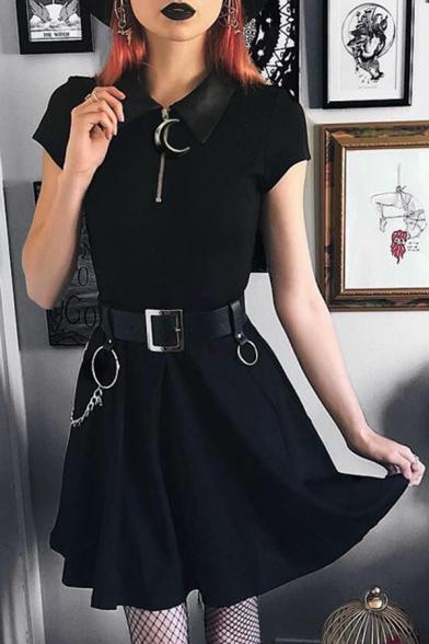 Gothic Black Lapel Collar Moon Zipper Placket Short Sleeve Retro Mini A-Line T-Shirt Dress