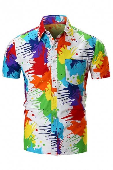 Guys Personality Colorful Paint Drip Print Short Sleeve Button Up White Shirt