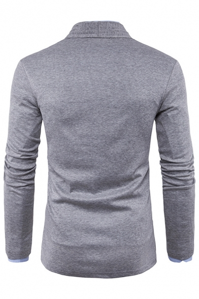 Mens Casual Business Plain Shawl-Collar Long Sleeve Open Front Cardigan Fitted Knitwear Coat