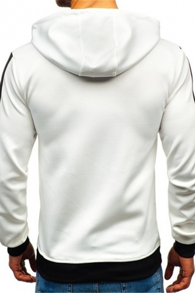 Mens Sport Fashion Striped Long Sleeve Pouch Pocket Fitted Drawstring Hoodie