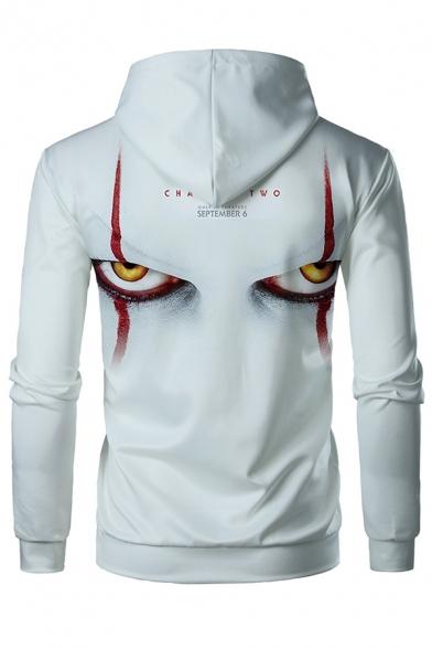 Mens Terrible Clown Eye Printed Light Gray Long Sleeve Drawstring Hoodie for Men
