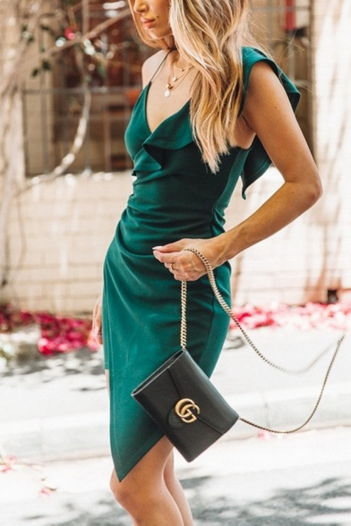 Plain Pretty Girls' Sleeveless Deep V-Neck Ruffled Trim Ruched Asymmetric Mini Wrap Bodycon Cami Dress