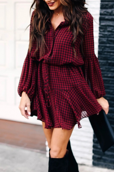 Red Trendy Girls' Blouson Sleeve Lapel Collar Button Down Bow Tie Waist Plaid Print Asymmetric Pleated Mini A-Line Shirt Dress LM574231 фото