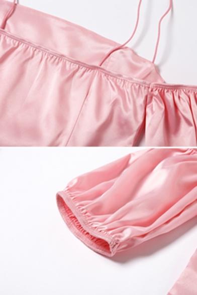 Sexy Plain Spaghetti Strap Cold Shoulder Lantern Short Sleeve Mini Sheath Dress for Party