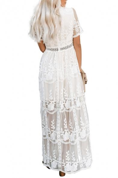 Women's Trendy White V-Neck Short Sleeve Cutout Waist Maxi Holiday Lace Dress