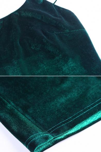 Womens Elegant Plain One Shoulder Strap Velvet Midi Tight Dress for Party