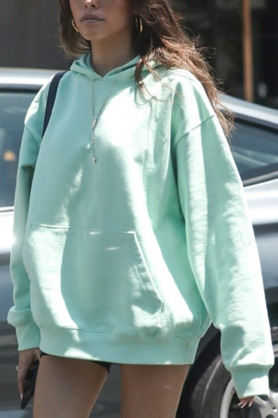 Womens Fashionable Plain Light Green Long Sleeve Casual Oversized Hoodie