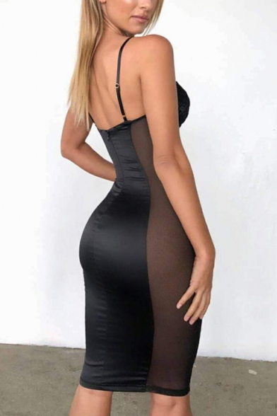 Womens Sexy Lace Panel Plain Midi Bodycon Cami Dress for Night Club