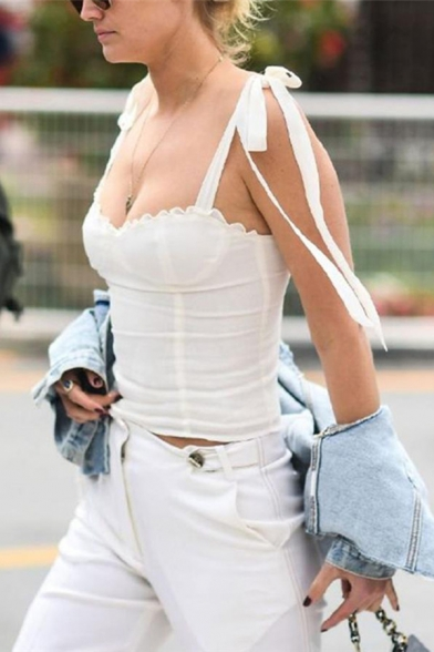 Womens Unique Plain White Tied Ribbon Straps Stringy Selvedge Trim Fitted Sweetheart Tank LM571421 фото