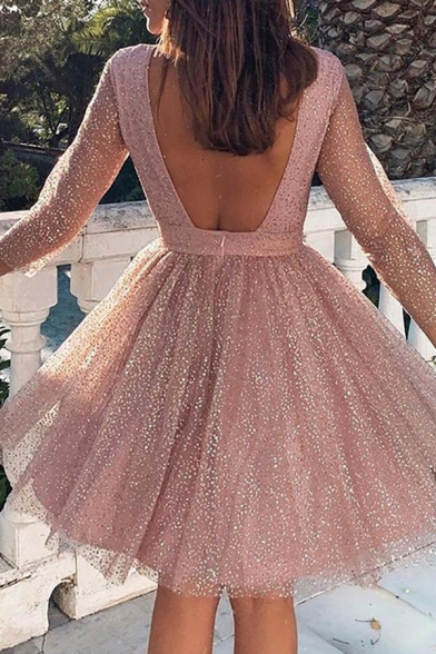 Boutique Girls' Three-Quarter Sleeve Crew Neck See-Through Mesh Patched Open Back Pink Pleated Mini A-Line Dress for Party