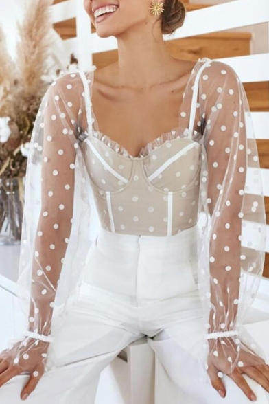 Cute Hot Long Sleeve Sweetheart Neck Polka Dot  Ruffled Cuff Plain Sheer Mesh Slim Fit Crop Blouse for Women
