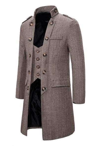 Designer Fake Two Piece Panel Long Sleeve Button Decoration Slim-Fit Plain Longline Herringbone Overcoat Wool Coat
