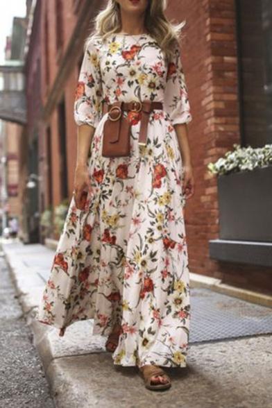 Fancy Women's Blouson Sleeve Round Neck Floral Print Maxi Pleated Flowy Dress in White