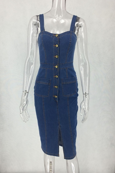 Fashion Street Ladies' Sleeveless Button Down Slit Front Plain Midi Bodycon Sheath Denim Cami Dress