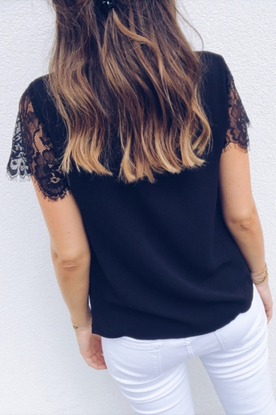 Plain Lace Patched Short Sleeve Scalloped Trim V-Neck Loose Shirt Top for Women