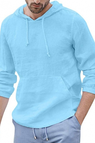 Mens Active Fashion Solid Color Long Sleeves Pouch Pocket Drawstring Hoodie