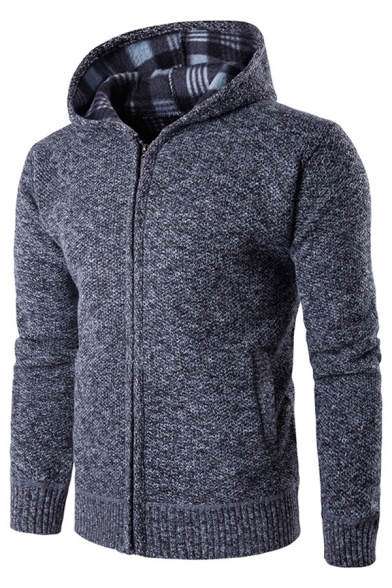 Mens Leisure Plain Long Sleeve Zip Up Slim Fit Knit Hooded Cardigan with Pocket