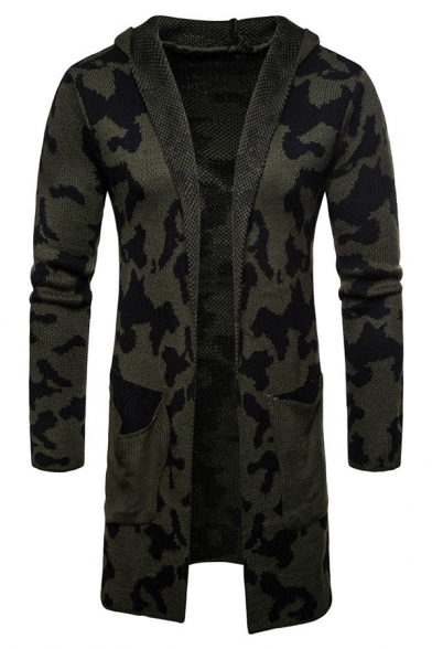 Mens Popular Camo Printed Long Sleeve Open Front Longline Hooded Cardigan Knitted Coat