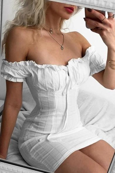 Plain White Stringy Selvedge Embellished Off Shoulder Tied Front Short Sleeve Fitted Mini Dress